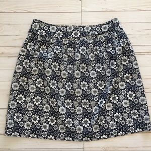 Brooks Brothers Navy Blue & White Floral Skirt 14